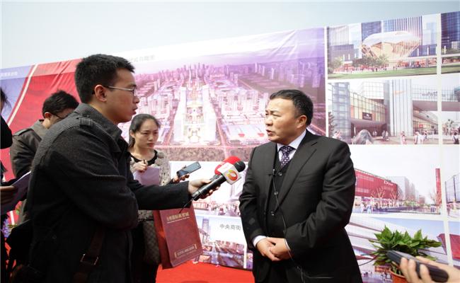 金桥国际商贸城开工典礼傅胜龙接受采访